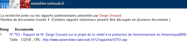 Rapport unique de Serge Grouard